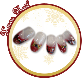 クリスマスのコーディネートネイル 雪の結晶ネイル